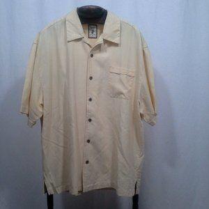 Jamaica Jaxx mens shirt XL Yellow 100% silk Camp